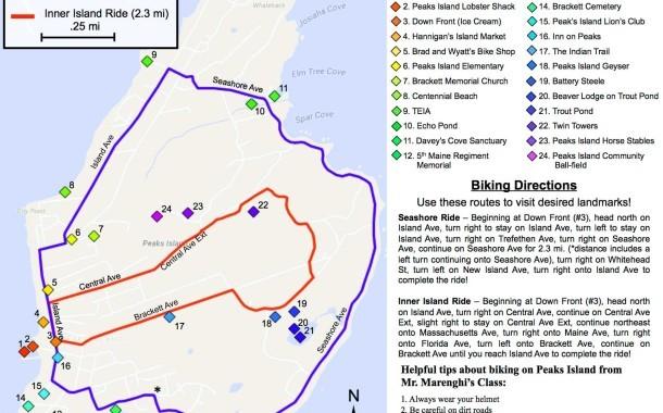 Students Create Peaks Island Bike Map