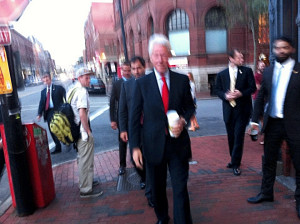 Bill Clinton Gets Coffee in Old Port