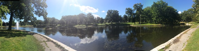 A panoramic view of Deering Oaks Pond.