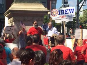 Doug Born speaks to Fairpoint Rally.