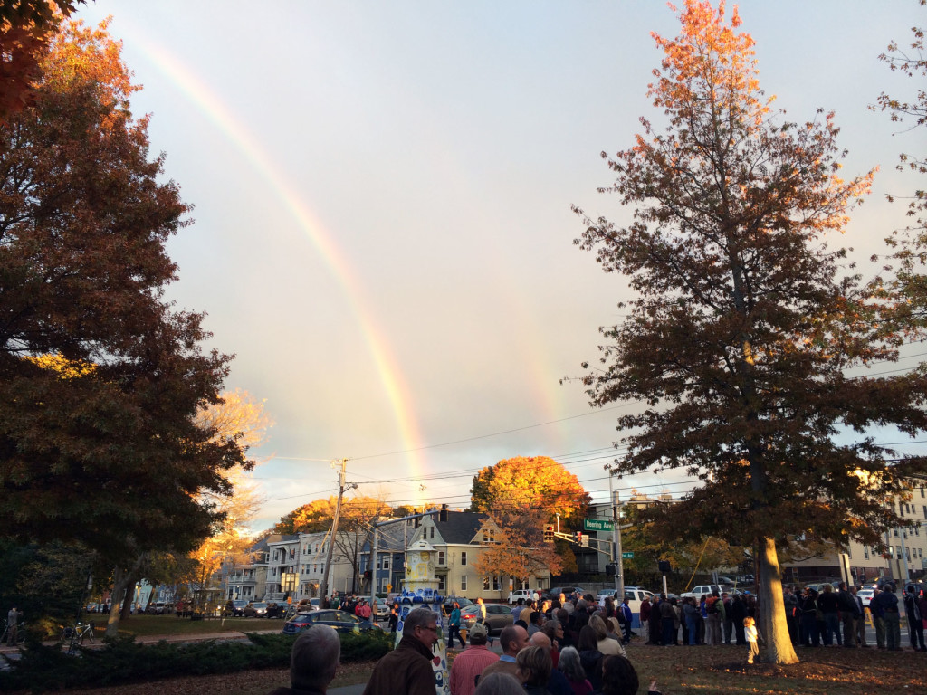 Double rainbow was spotted by Michaud supporters waiting in line to see President Obama this October.     -West End NEWS Photo