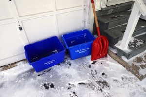 Shovel and Recycling Bins
