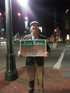 Dave Marshall with Legalize Sign