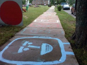 """""""street repair"""" done by the Heidelberg Project in Detroit"""