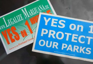 "Ballot Initiative Signs, ""Yes on 1 Marijuana Legalization"" and ""Yes on 1 Protect Our Parks"""