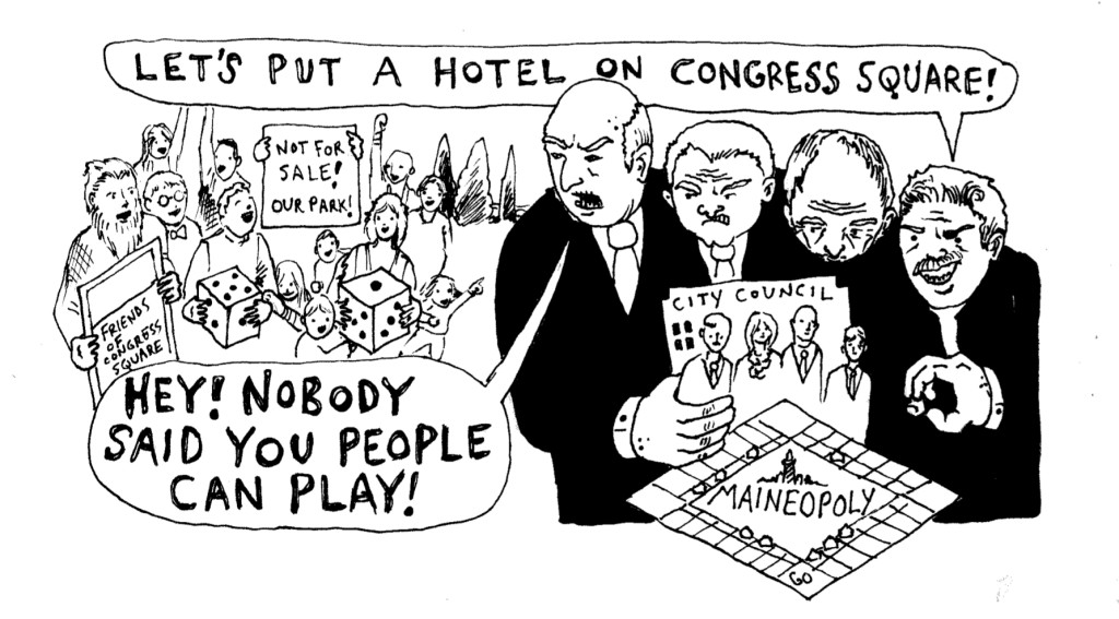 Congress Square Park Cartoon by Will Hessian