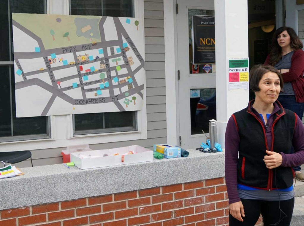 Emma Holder, PNA President, and Sara Fleurant Parkside civilan Community Policing Coordinator, near the clean-up map.