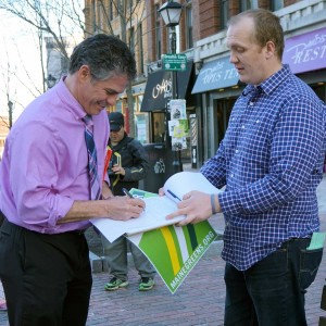 Ethan Strimling signs $15/hour minimum wage petition.