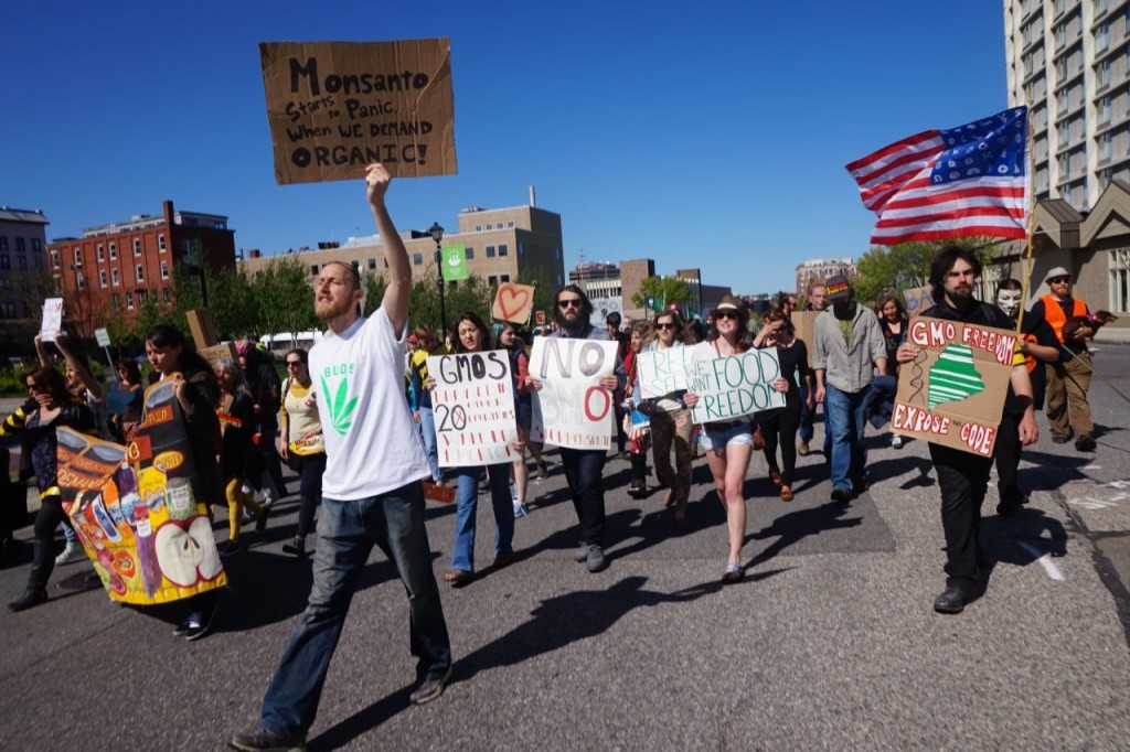 March Against Monsanto moves down Spring St. The march drew 250 participants.