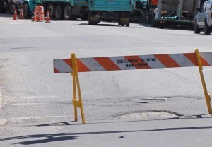 Road closed in downtown Portland for Public Services.