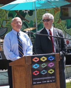 Mayor Brennan and Councilor Mavadones at CSP Placemaking event.