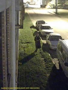 Security camera still of suspect in car burglary investigation.