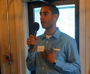 Spencer Thibodeau speaks at his kickoff event at Little Tap House.