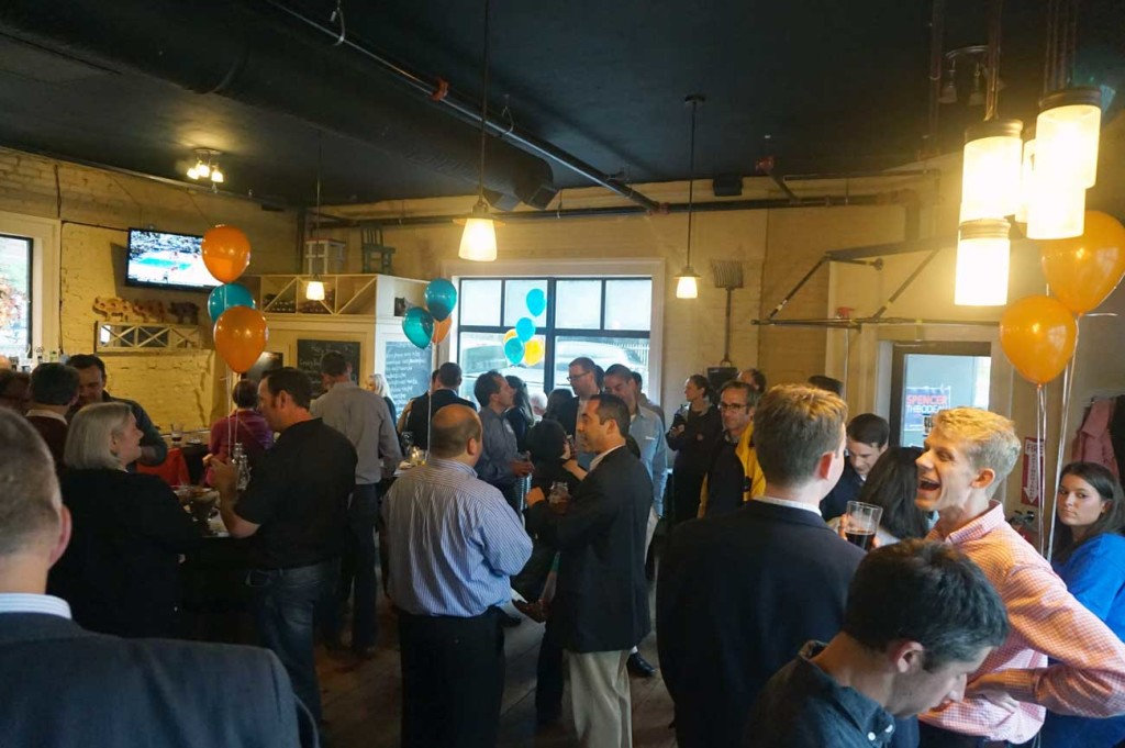 The gathering at the Little Tap House to support Spencer's bid for Council.