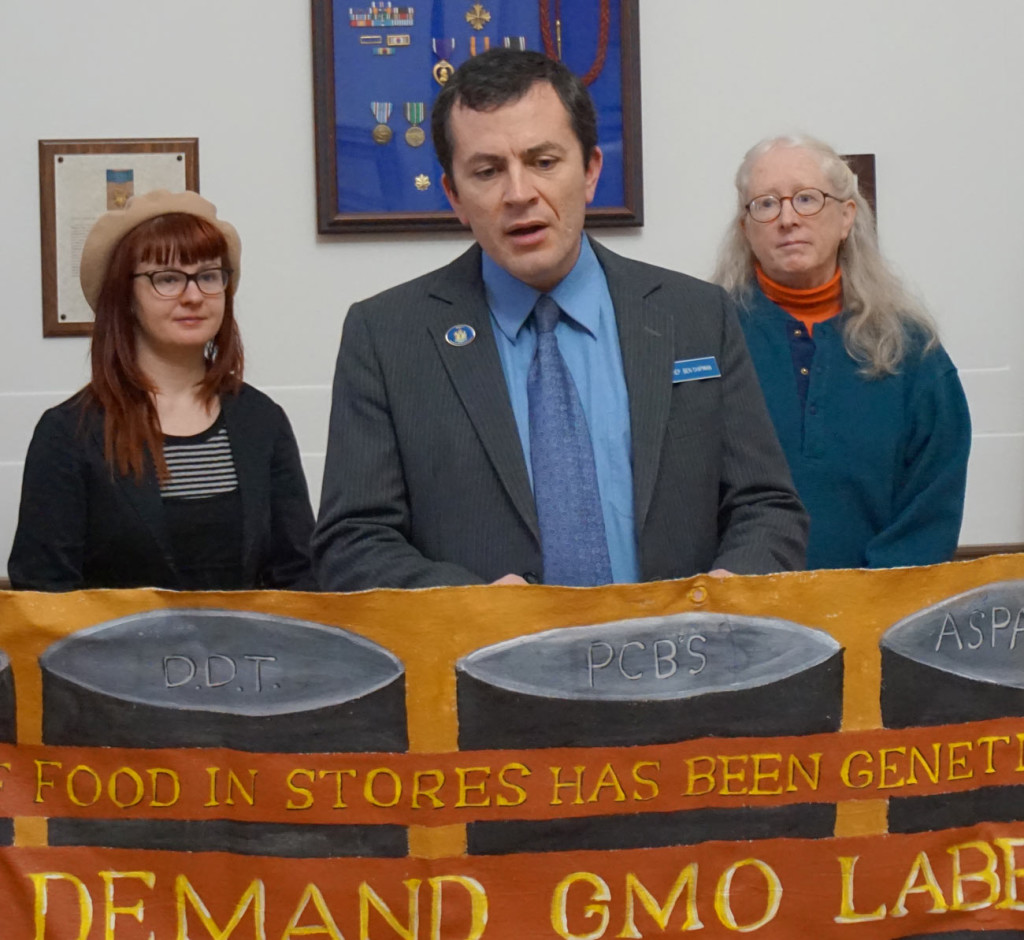 Rep. Ben Chipman (Parkside/Bayside) spoke against the DARK Act at a press conference in Portland in December 2014.