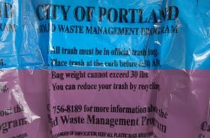 trash bag blue and purple