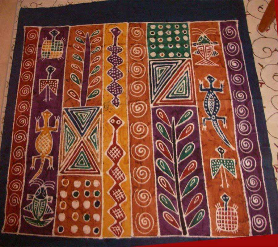 A Batik wall hanging from Zimbabwe . Photo by Nancy Dorrans.