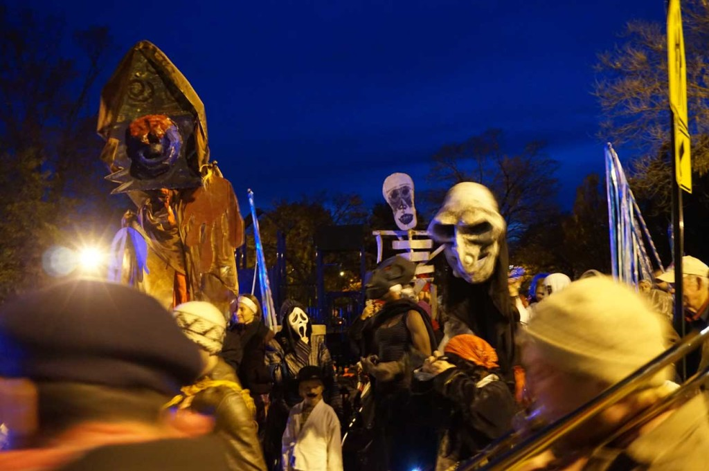 Halloween Parade band and puppets