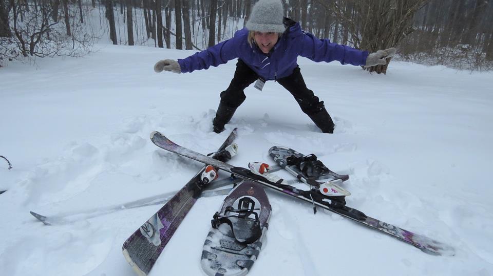 Nancy Meyer with ski equipment.
