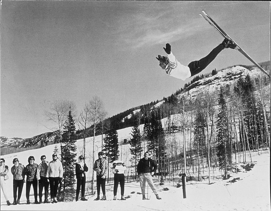 Norwegian skier Stein Eriksen, performing one of his signature layout flips. (Stein Eriksen Collection