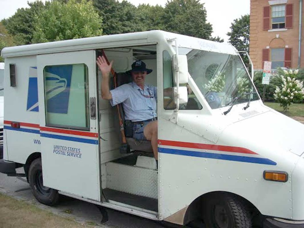 Ray Richard in mail truck.