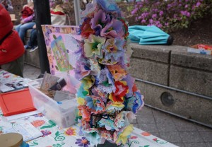 West End News: Congress Square Park: May Day paper flowers