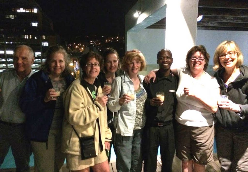 West End News: Adventorous traveler - South Africa rooftop drink group photo