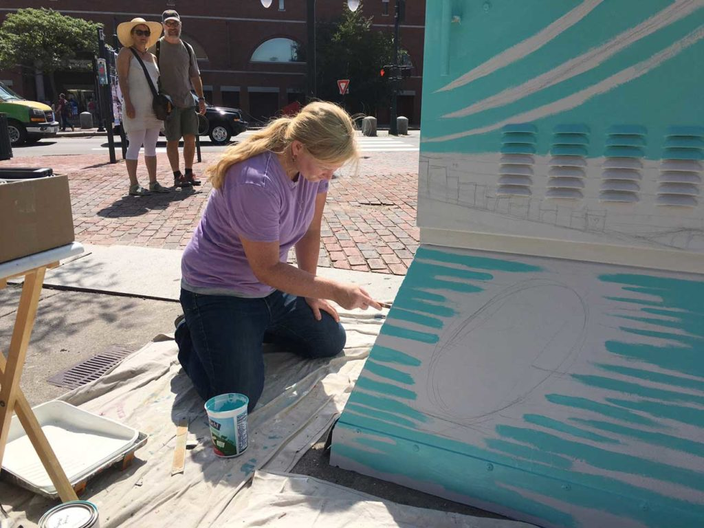 West End News - Enhanced Utility Boxes - Kerrin Parkison Paints utility box on First Friday