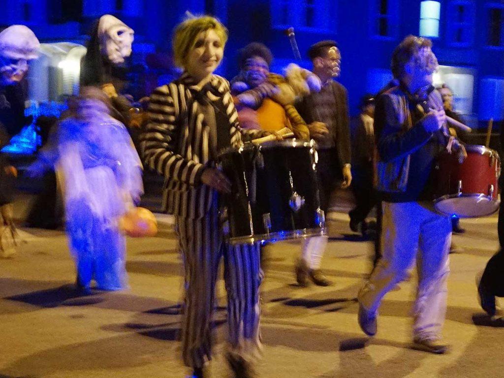 West End News - Halloween Parade - Beetlejuice drummer