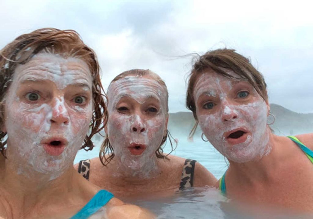 West End News - Embracing warmth - facial with friends in geothermal pool - Iceland