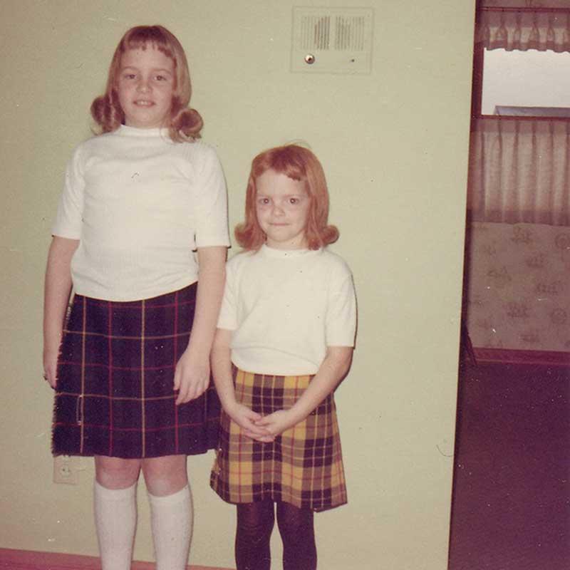 West End News - Gradma Dorrans - Nancy and sister wearing Tartan colors
