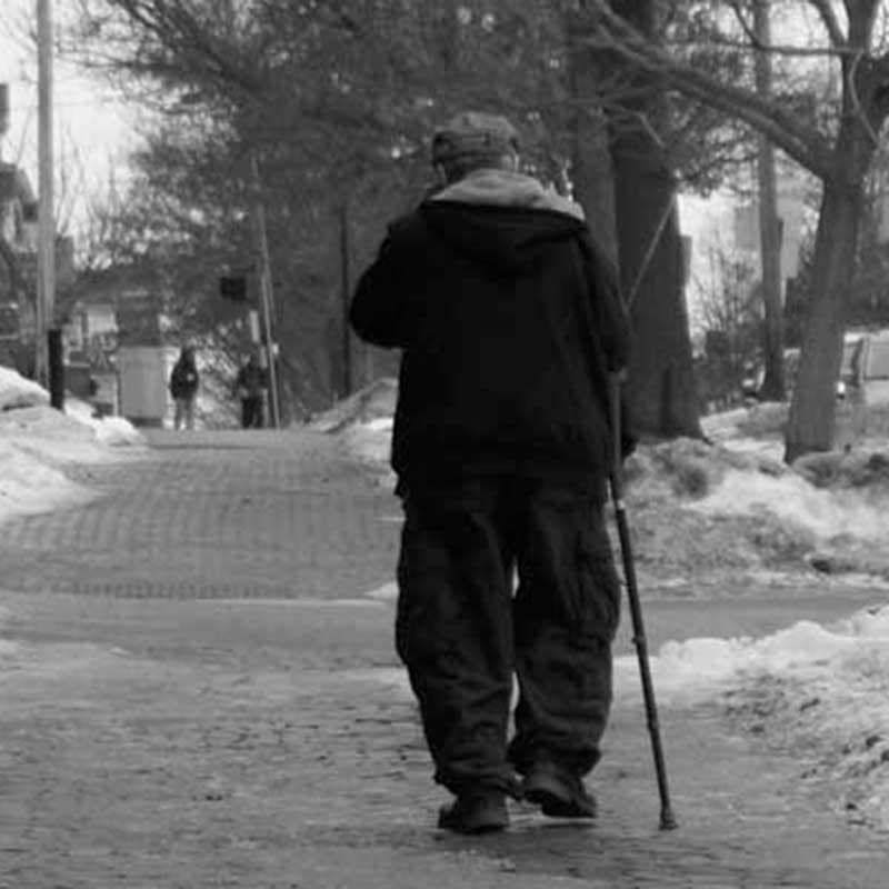 West End News - Aging West End neighbors - older gentlemen on icy sidewalk
