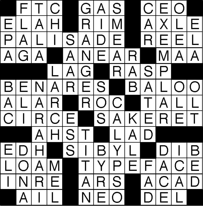 West End News - Puzzle Solutions - May Crossword answer