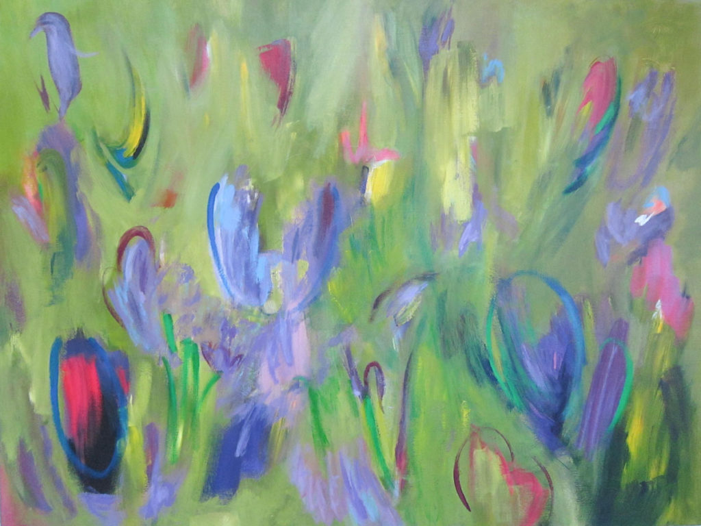 West End News - SPring in Vermont by Julie Laukkanen, acrylic 36'x48'.