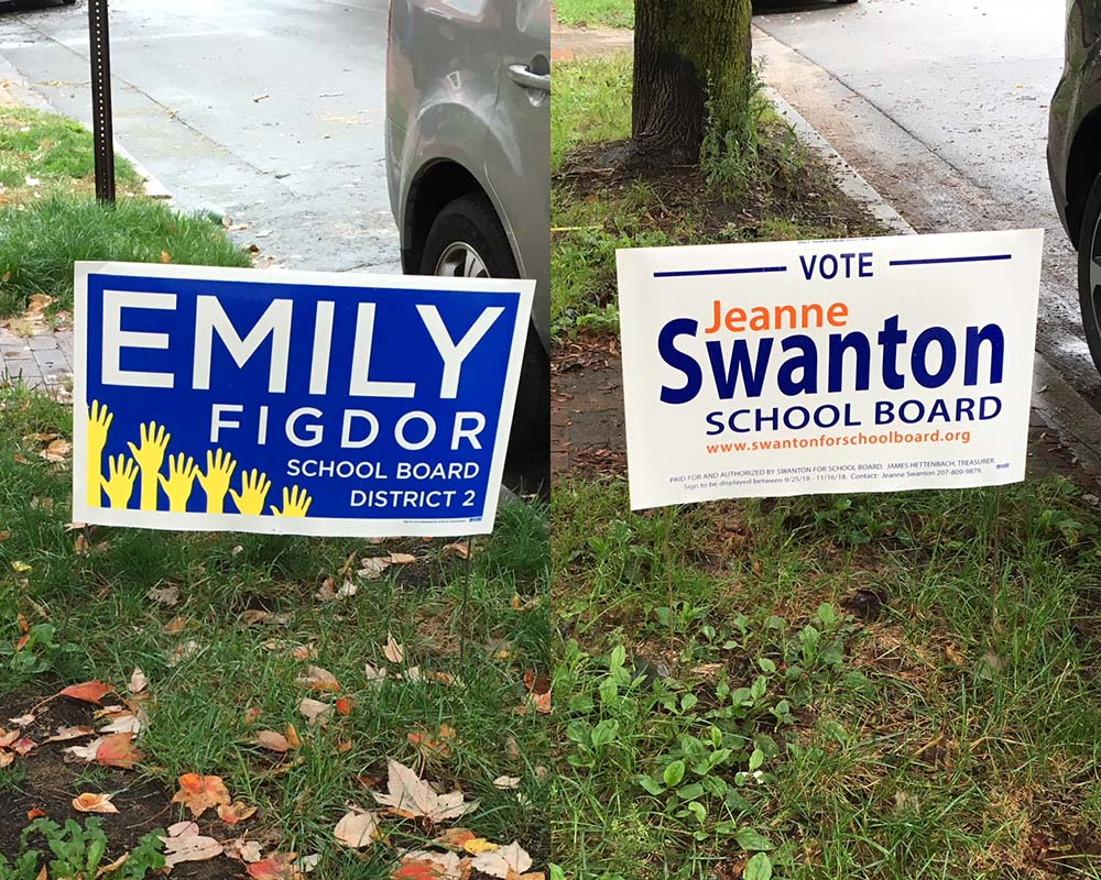 West End News - Emily Figdor v Jeanne Swanton - Campaign signs