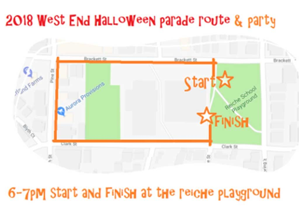 West End News - route for the 2018 West End Halloween Parade
