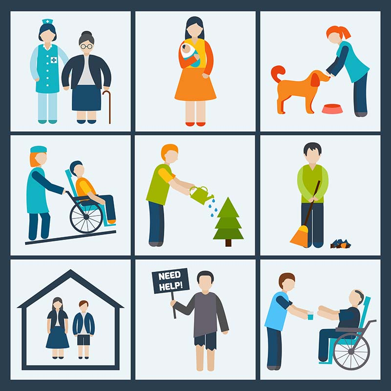 West End News - Helper's High - Social services and volunteer icons set isolated vector illustration