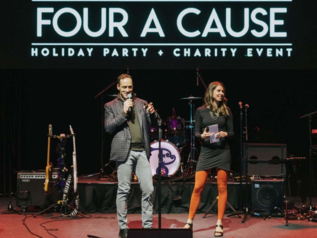 West ENd News - Tom Landry and Amy Landry on stage at Four a Cause event