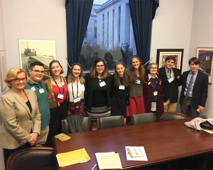 West End News - Maine Climate Lobby - Students at Pingree's office
