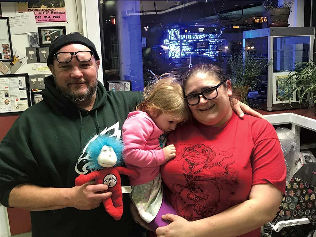 West End News - Keith Costello, owner of The 5 Spot, with wife Rosetta Lannaccone and daughter EmmaRose. -Photo by Cameron Autry