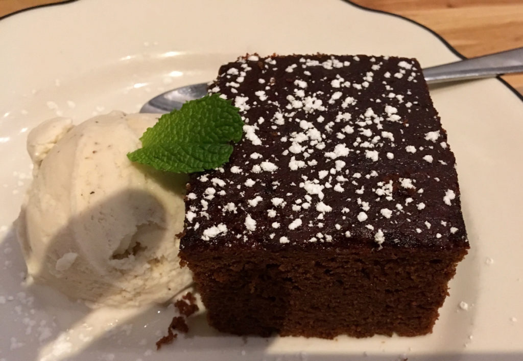 West End News - Hot Suppa Dessert Molasses Ginger Cake with Vanilla Ice Cream