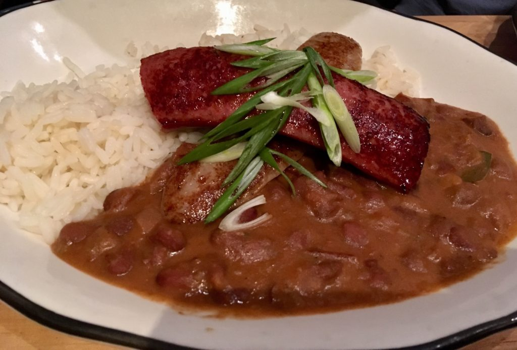 West End News - Hot Suppa - Red beans and rice with Bratwurst.
