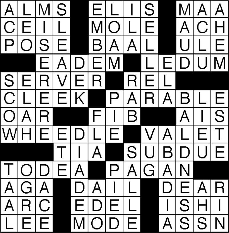 West End News - Puzzle Solutions - July Crossword