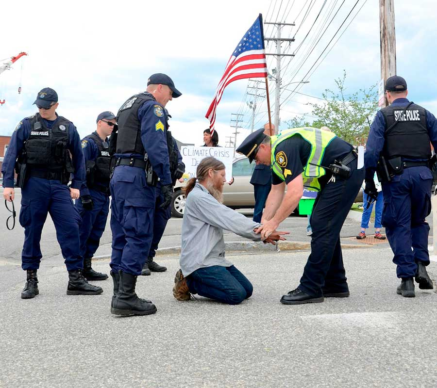 West End News - Convert War Money to Green New Deal - BIW protest arrests