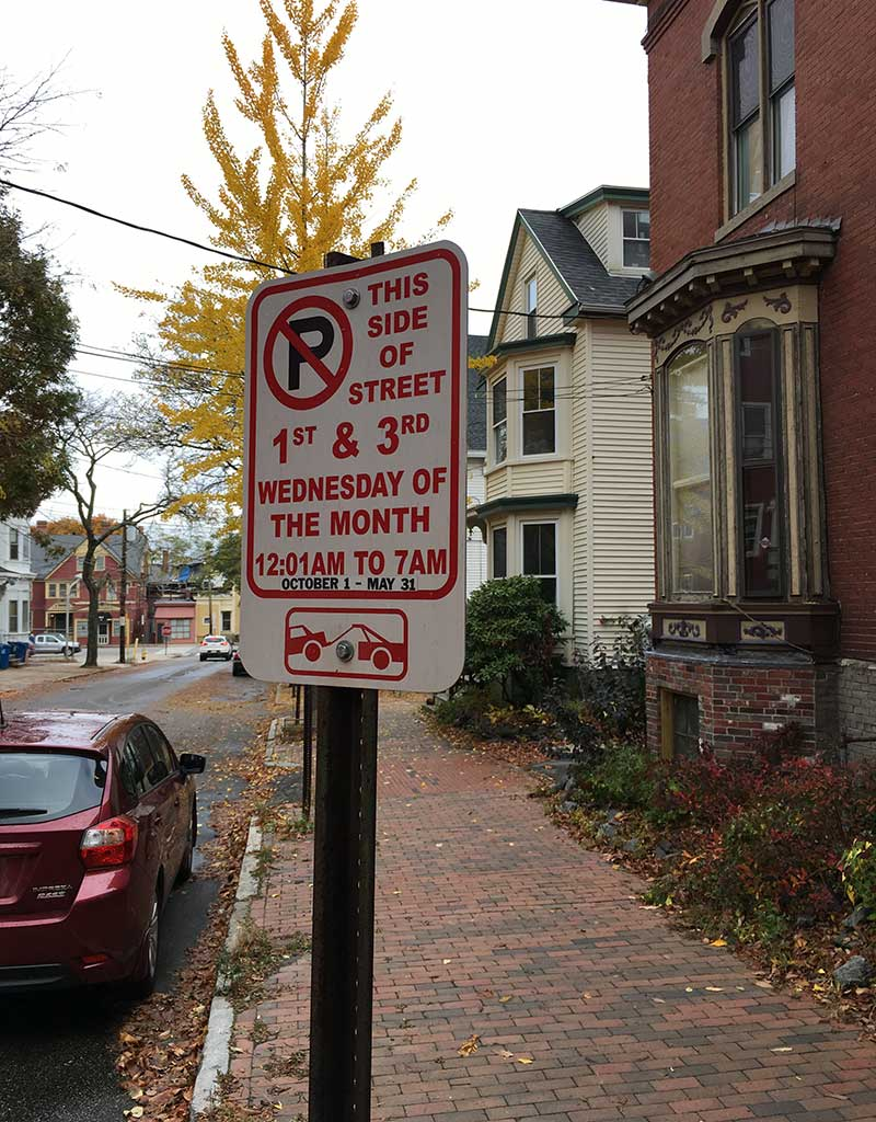 West End News - parking restrictions sign