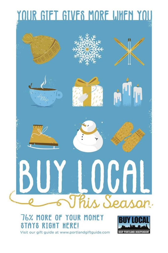 West End News - Portland Buy Local Holiday 2019 Poster