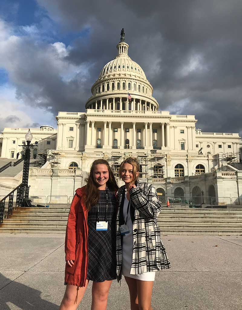 West End News - Maine Youth Environmental Organization members Ruth and Riley in Washington, DC