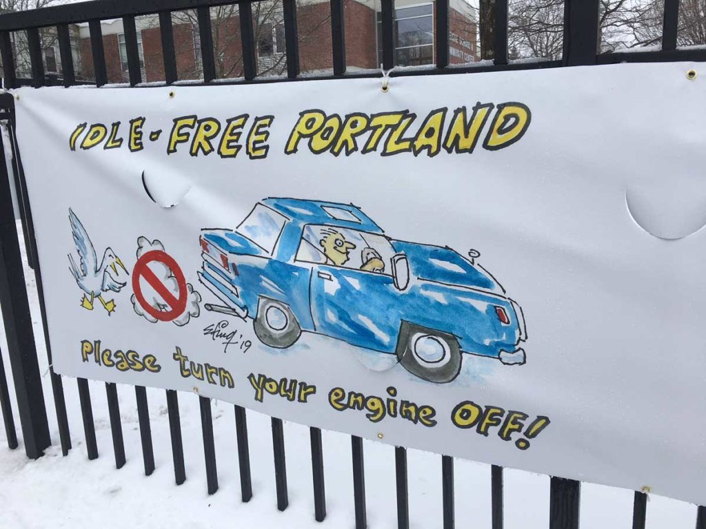 West End News - Idle-Free Portland Ed King Cartoon Banner close-up