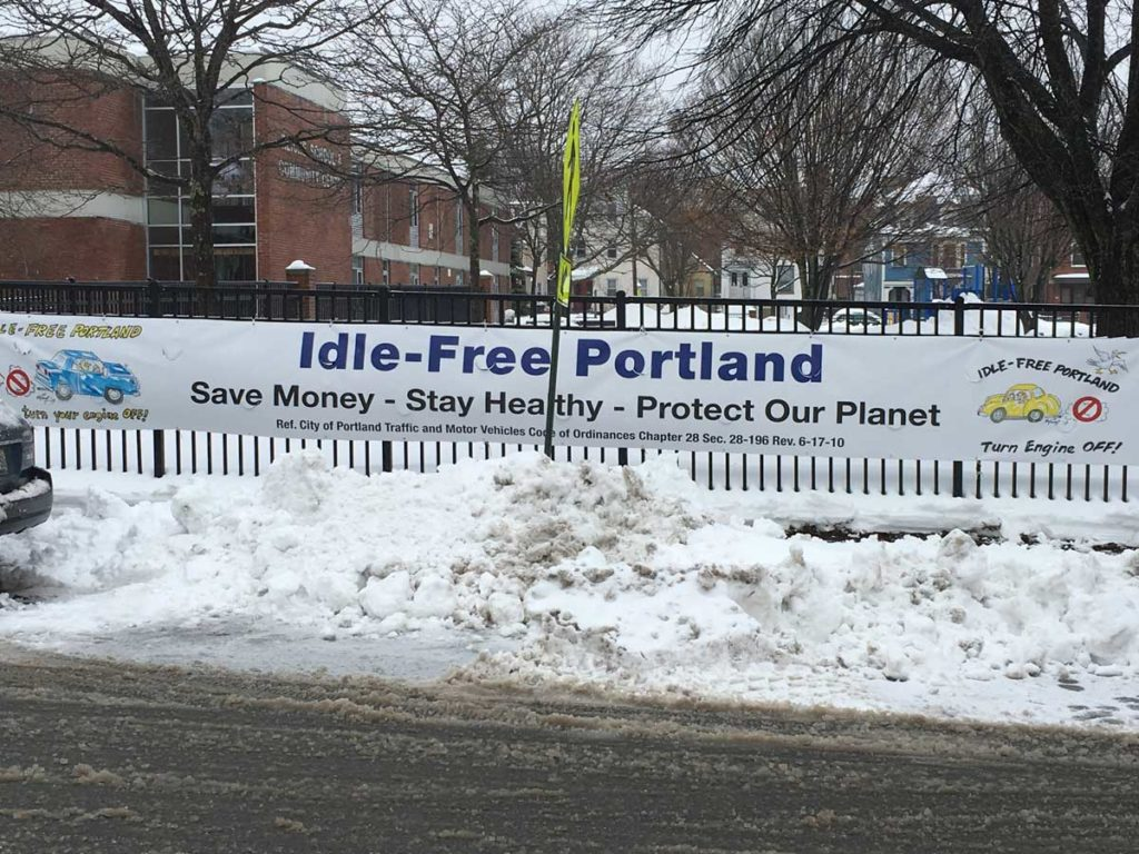 West End News - Idle-Free Portland - Banner at Reiche School and Community Center