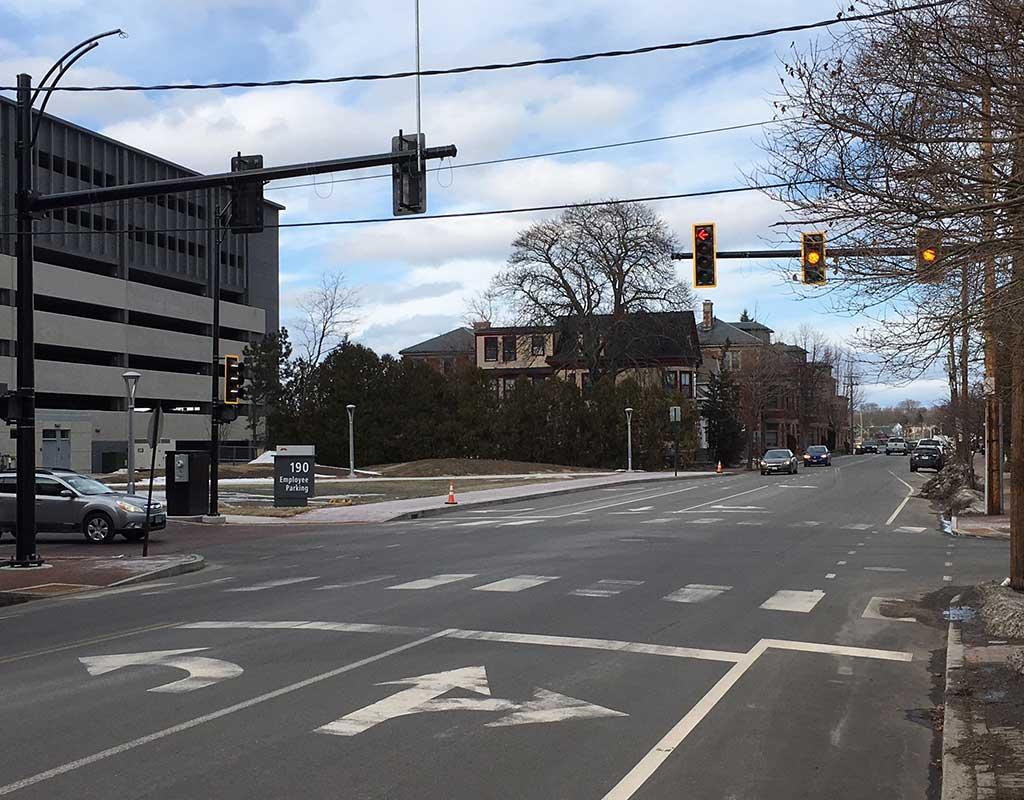 West End News - Turning lanes on St. John Street at Maine Medical Center Employee Garage